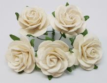 WHITE ROSES (2.5 cm) Mulberry Paper Roses